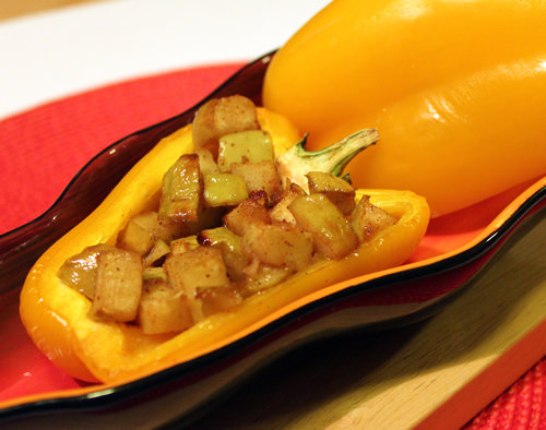 Apple Glazed Stuffed Peppers with Caramel Sauce