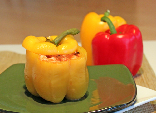 Chicken in Tomato Sauce Stuffed Peppers