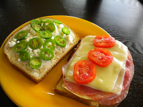 Chicken and Salami Sandwich with Sliced Jalapeno Peppers Recipe