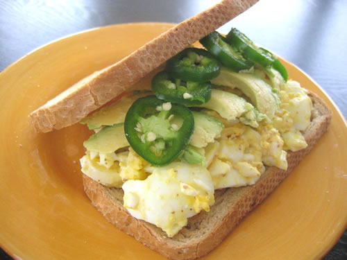 Egg Salad with Avocado and Jalapeno Peppers