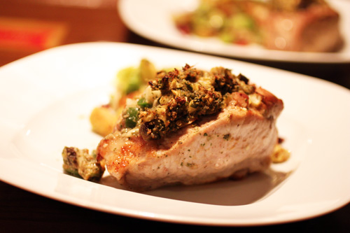 Jalapeno-Pear Stuffed Pork Chops